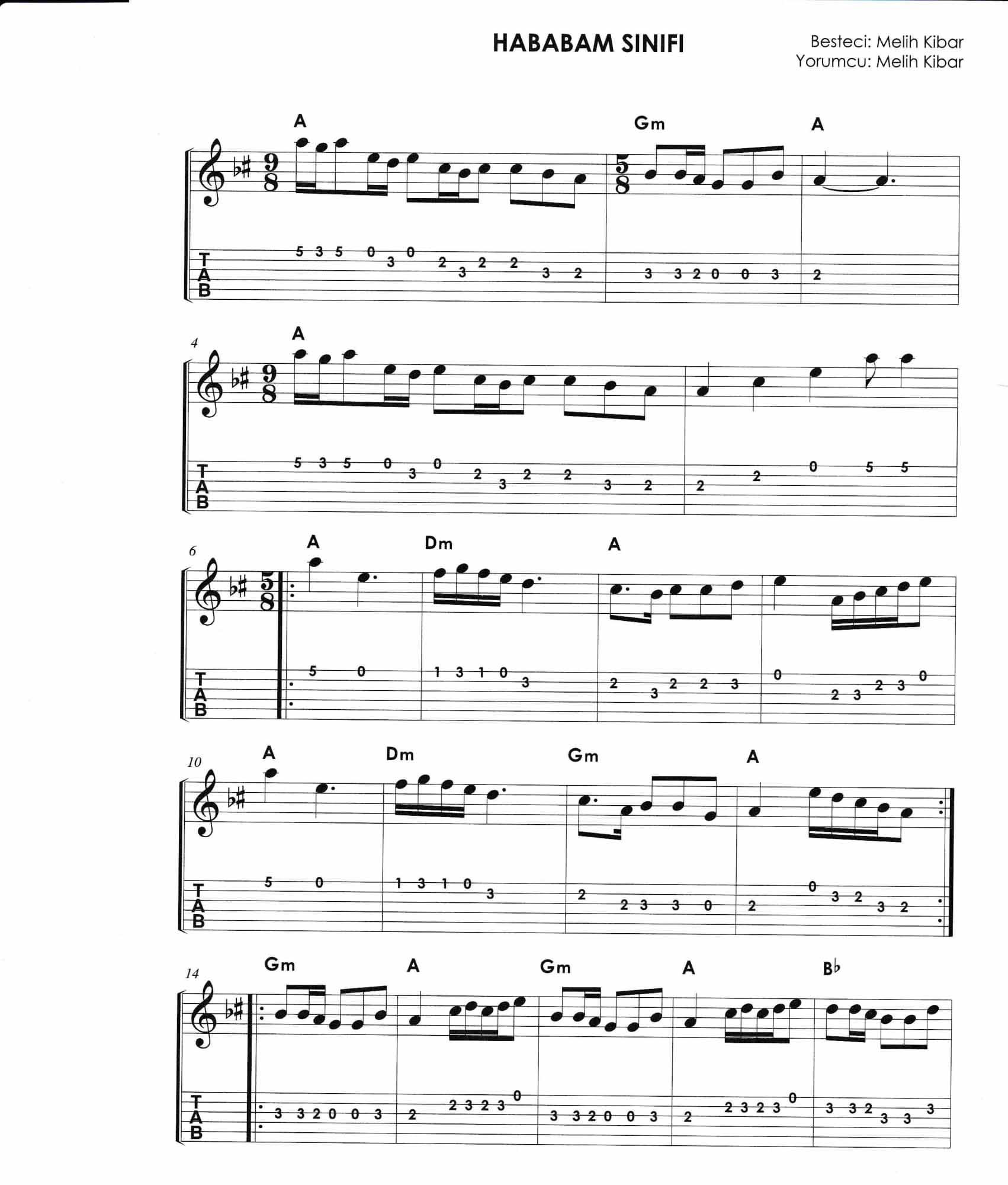 Hababam Sınıfı Gitar Notaları 2